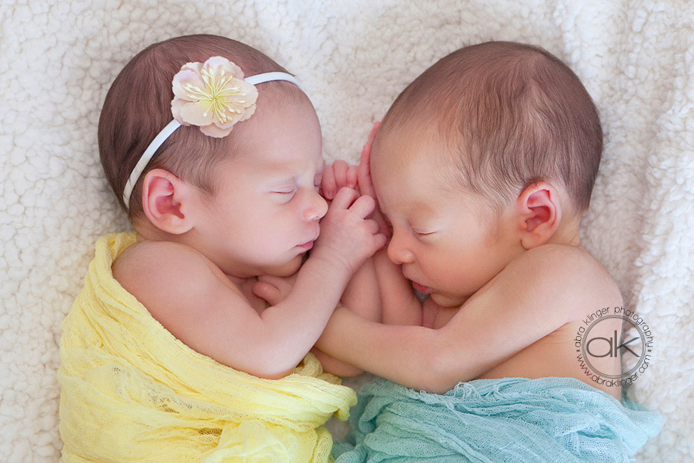 Twin girl and boy