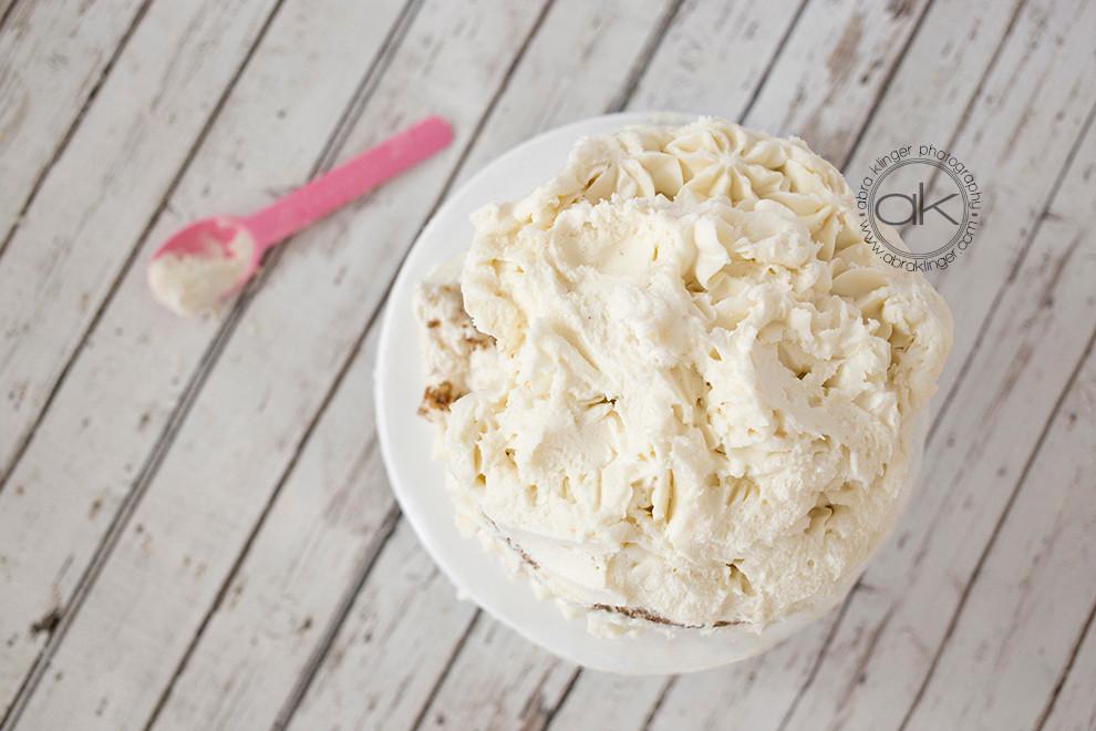 Destroyed cream cake