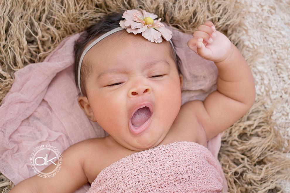 Baby yawns