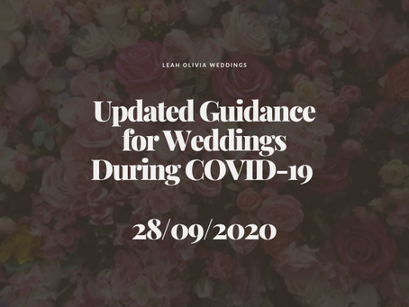 Updated Guidance for Weddings During COVID-19 28/09/2020