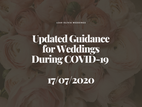 Updated Guidance for Weddings During COVID-19 17/07/2020
