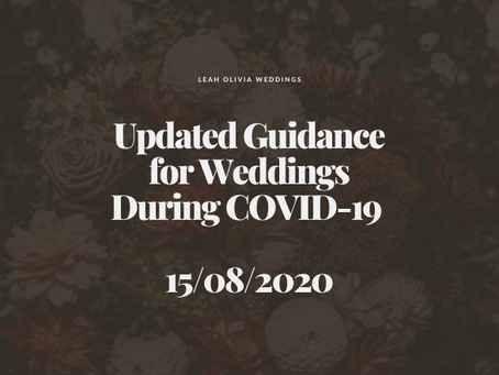 Updated Guidance for Weddings During COVID-19 15/08/2020