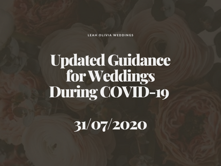 Updated Guidance for Weddings During COVID-19 31/07/2020