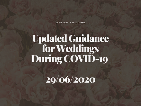 Updated Guidance for Weddings During COVID-19 29/06/2020