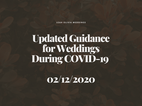 Updated Guidance for Weddings During COVID-19 02/12/2020