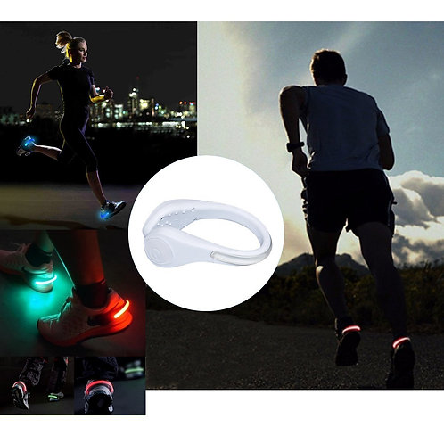 TEQIN White Shell Colorful LED Flash Shoe Safety Clip Lights for Runners & Night
