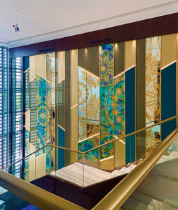 Staircase Wall Cladding - Distressed Glass with Back Painted, Sand Blasting (Etching)