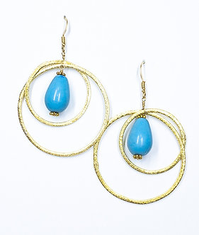 Turquoise Howlite Two Hoop Round Earrings