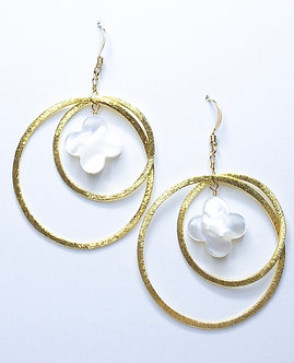 Mother of Pearl Clover Two Hoop Round Earrings