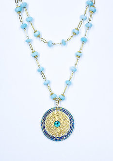 Evil Eye Disc Long Necklace