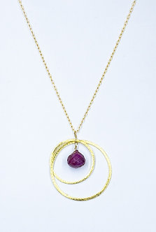 Ruby Two Hoop Necklace