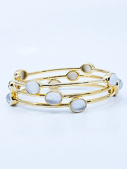 Mother of Pearl Four Stone Bangle Bracelet