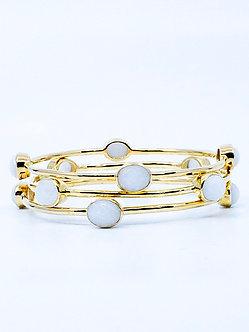 White Agate Four Stone Bangle Bracelet