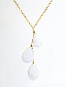 Moonstone Three Drop Lariat
