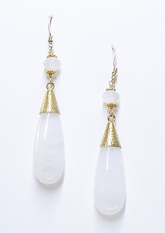 Gold Capped White Agate Drop Earrings