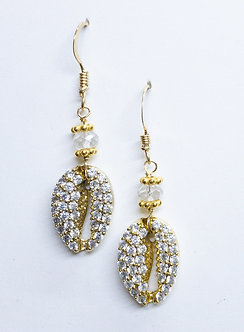 Pavé Cowrie Drop Earrings