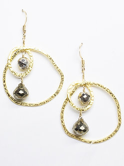 Pyrite Two Hoop Organic Earrings