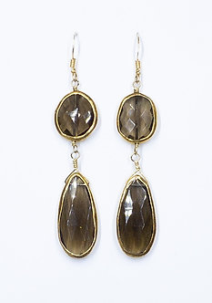 Smoky Topaz Gold Wrap Two Drop Earrings