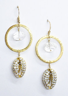 Pavé Cowrie One Hoop Earrings