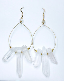 Quartz Drop Hoop Earrings