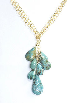 Turquoise and Small Chain Cluster Lariat
