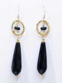 Black Onyx Long Drop Earrings