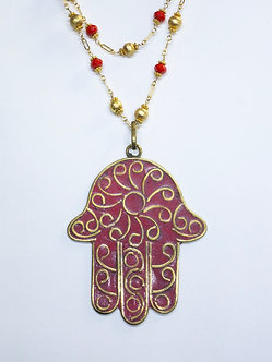 Large Tibetan Hamsa Charm Necklace