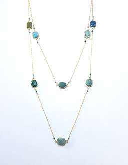 Gold Wrapped Turquoise Long Lariat