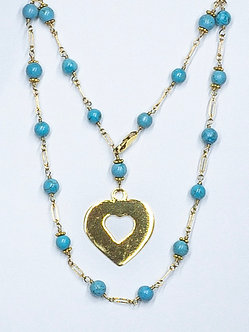 Long Heart Charm Necklace