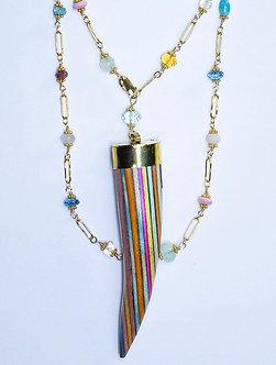 Rainbow Wood Horn Wrap Necklace