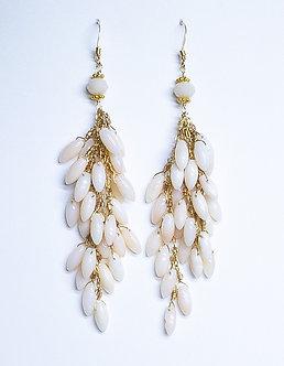 Angel Skin Coral Teardrop Earrings