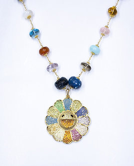 Rainbow Pavé Smiling Daisy Necklace