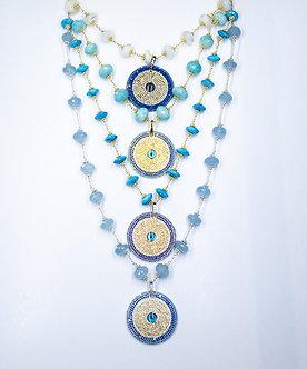 Evil Eye Disc Pendant Necklace