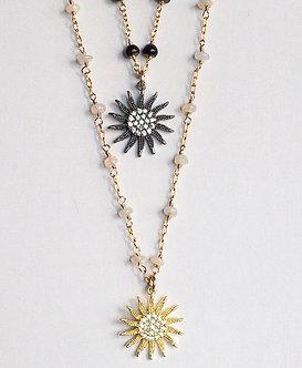 White or Black Opal Sunburst Charm Necklace