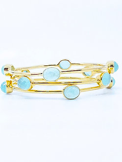 Peruvian Opal Four Stone Bangle Bracelet