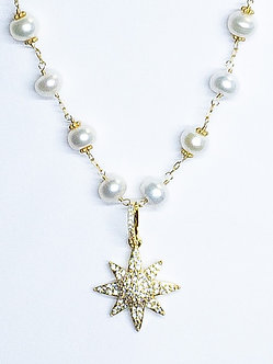 Large Starburst Charm and Pearl Necklace