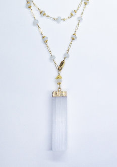 Selenite Bar Drop Necklace