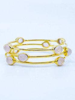 Rose Quartz Four Stone Bangle Bracelet