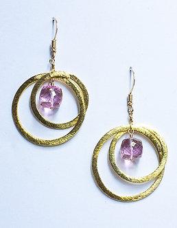 Pink Topaz Medium Two Hoop Earrings