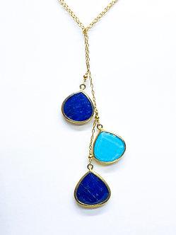 Lapis Lazuli and Turquoise Three Drop Lariat