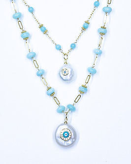 Large or Small Evil Eye on Pearl Pendant