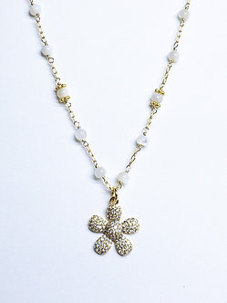 Pavé Daisy Charm Necklace