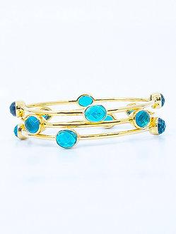 London Blue Topaz Four Stone Bangle Bracelet