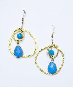 Turquoise Gold Wrap Two Hoop Organic Earrings