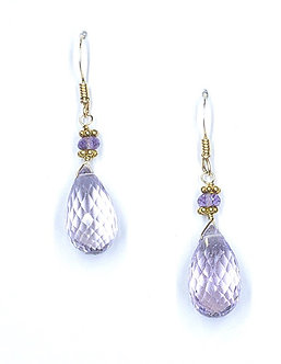 Pink Amethyst Short Drop Earrings