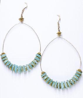 Amazonite Tire Hoop Earrings