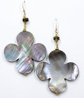 Black or White Mother Of Pearl Clover Earrings