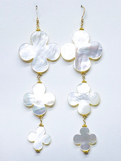 Mother of Pearl Clover Three Drop Earrings
