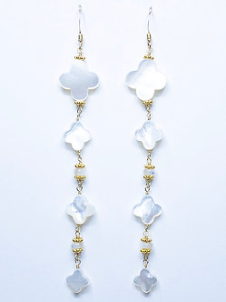 Mother of Pearl Clover Four Drop Earring