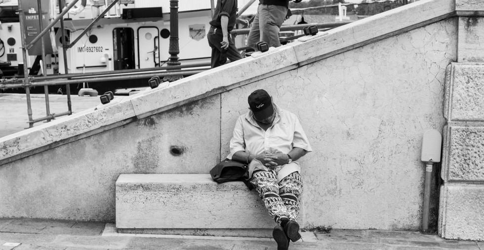 Man Taking a Nap, Venice, 2017
